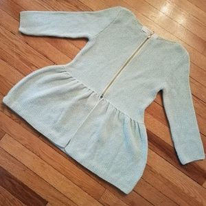 Zara Knit Metallic Zip Peplum Cardigan Sweater